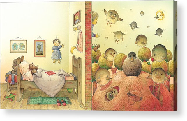 Sleep Dream Red Bird Acrylic Print featuring the painting Lisas Journey04 by Kestutis Kasparavicius