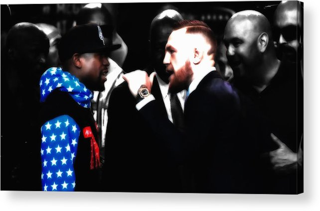 Conor Mcgregor Acrylic Print featuring the mixed media Mayweather And Mcgregor 2d         by Brian Reaves