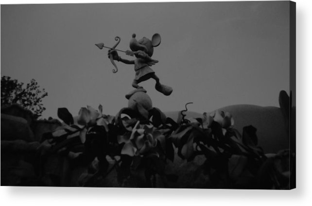 Black And White Acrylic Print featuring the photograph Mickey Mouse In Black And White by Rob Hans