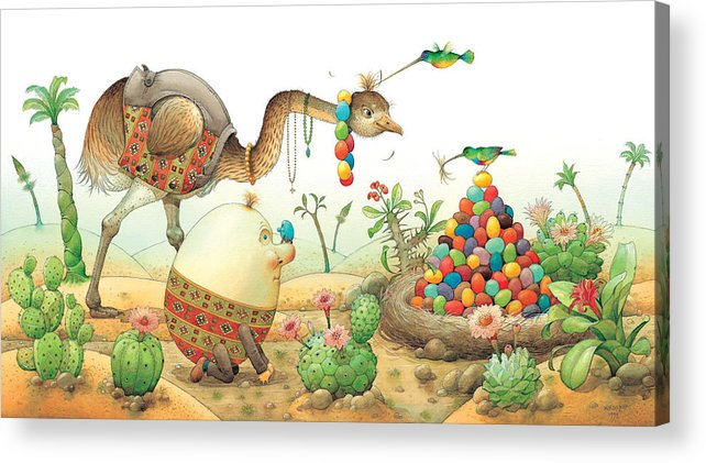 Eggs Easter Birds Acrylic Print featuring the painting Minieggs And Maxiegg by Kestutis Kasparavicius