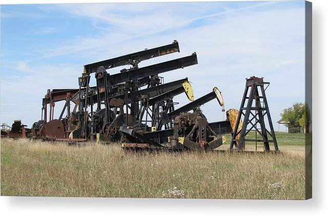 Kansas Acrylic Print featuring the photograph Oil Rigs by Keith Stokes