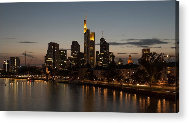 Central Europe Acrylic Print featuring the photograph Skyline Of Frankfurt City In Twilight by Michalakis Ppalis