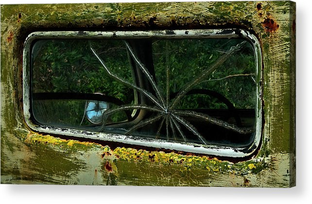 Broken Acrylic Print featuring the photograph Spider Window by Murray Bloom
