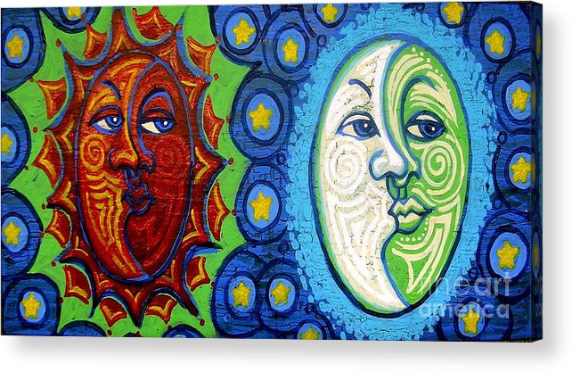 Sun Acrylic Print featuring the painting Sun And Moon by Genevieve Esson