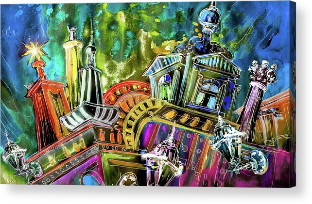 Czech Republic Acrylic Print featuring the painting The Magical Rooftops Of Prague 02 by Miki De Goodaboom