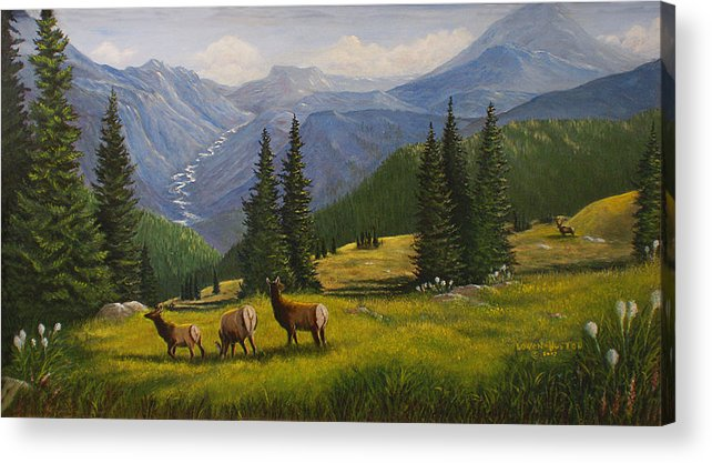 Landscape Acrylic Print featuring the painting The Moyie Drop by Lucille Owen-Huston