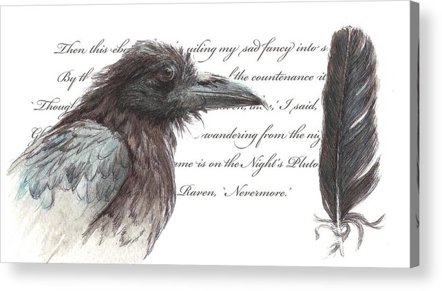 Raven Acrylic Print featuring the painting The Raven by Tahirih Goffic