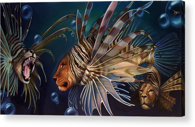 Lion Acrylic Print featuring the painting The Sentinels by Patrick Anthony Pierson
