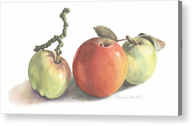 Fruit Acrylic Print featuring the painting Three Apples by Maureen Carter