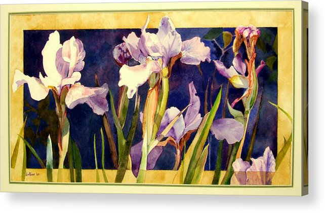 Irises Acrylic Print featuring the painting Three Gossips by Linda Marie Carroll