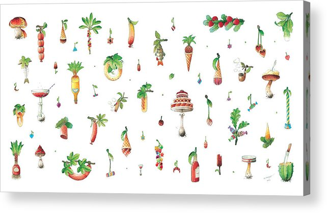 Dainty Kitchen Vegetable Kickshaw Food Acrylic Print featuring the painting Titbit by Kestutis Kasparavicius