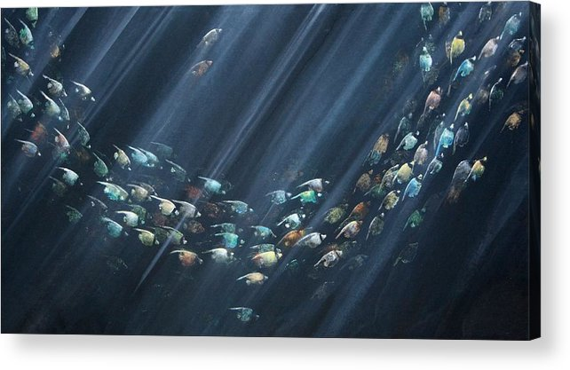Fish Acrylic Print featuring the painting Turning Point by Ana Bikic