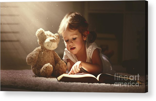 Magic Acrylic Print featuring the photograph Child Little Girl Reading A Magic Book by Evgeny Atamanenko