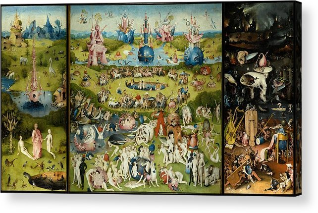 Hieronymus Bosch Acrylic Print featuring the painting The Garden Of Earthly Delights by Hieronymus Bosch