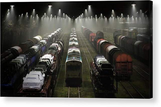 Train Acrylic Print featuring the photograph Trainsets by Leif L?ndal
