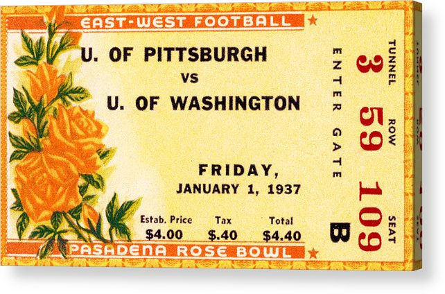 Tticket Acrylic Print featuring the photograph 1937 Rose Bowl Ticket by David Patterson