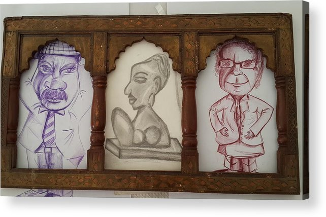 3 Handmade Charcoal Sketching In Which 2 Are Colored Violet And Brown & One Black On Cartridge Sheet.antique Woodan Frame From Rajasthan Acrylic Print featuring the drawing 3 In 1 by Palli Ritu