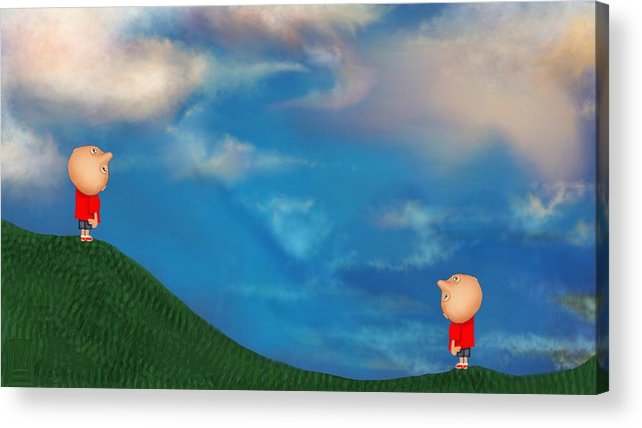 Humor Acrylic Print featuring the digital art A Twin's Perspective by Mary Eichert