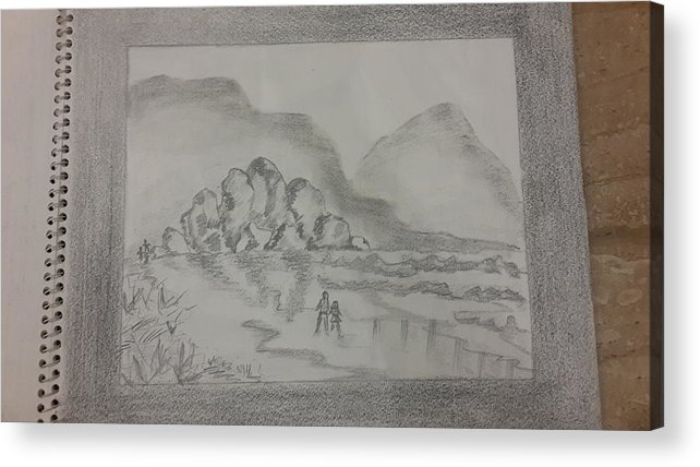 Sketching On Cartridge Sheet Acrylic Print featuring the drawing Bayside by Palli Ritu