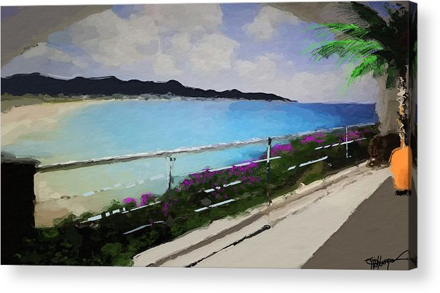 Anthony Fishburne Acrylic Print featuring the digital art Beach Front View by Anthony Fishburne
