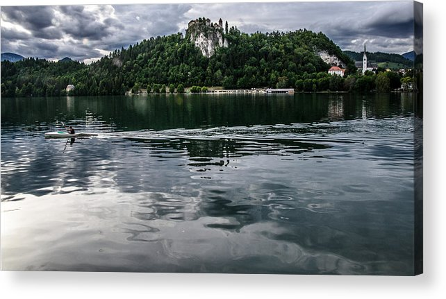 Bled Acrylic Print featuring the photograph Bled Lake Landscape by Luca Lorenzelli