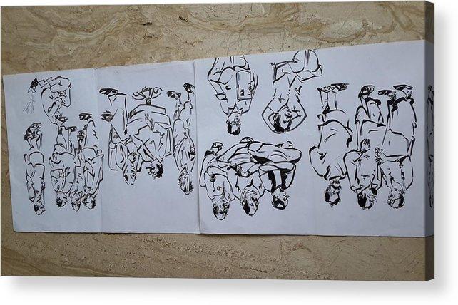Sketching On Cartridge Sheet Acrylic Print featuring the drawing Cartoons by Palli Ritu