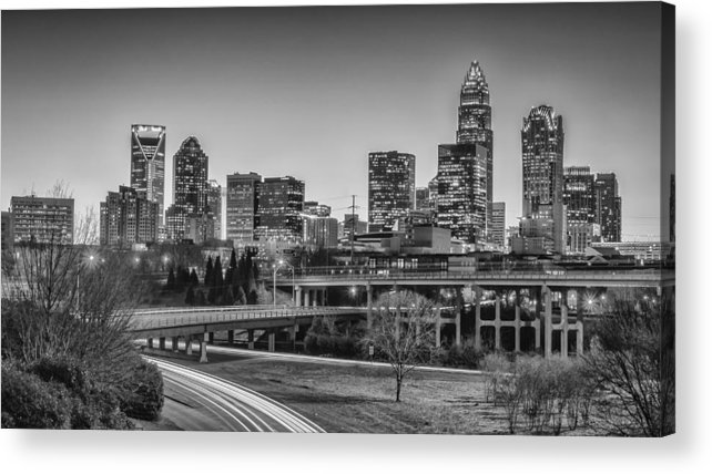 Charlotte Acrylic Print featuring the photograph Charlotte Sunset Black And White by Brian Young