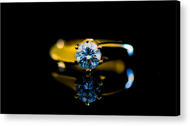 Close Up Of Diamond Ring With Reflection Against Black Background Acrylic Print
