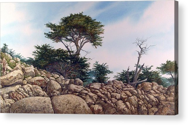 Landscape Acrylic Print featuring the painting Cypress Garden by Tom Wooldridge