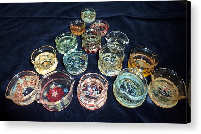 Glass Dabber Acrylic Print featuring the glass art Dishes by Glass Dabber
