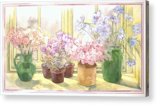 Julia Rowntree Acrylic Print featuring the photograph Flowers On The Windowsill by Julia Rowntree