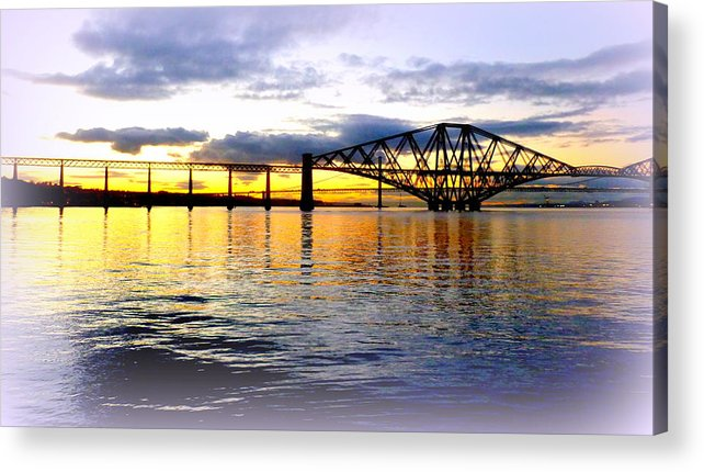 Forth Acrylic Print featuring the photograph Forth Rail Bridge At Sunset by The Creative Minds Art and Photography