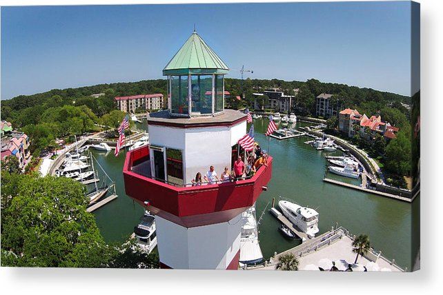 Harbor Town Acrylic Print featuring the photograph Harbor Town Lighthouse In Hilton Head by Duane McCullough