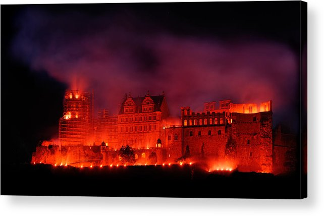 Europe Acrylic Print featuring the pyrography Heidelberg Red Castle by Francesco Emanuele Carucci