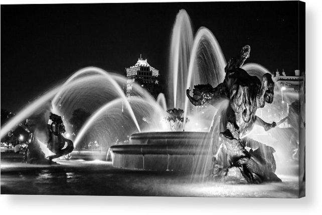 J.c. Nichols Memorial Fountain Acrylic Print featuring the photograph J.c. Nichols Memorial Fountain - Night Bw by Kevin Anderson