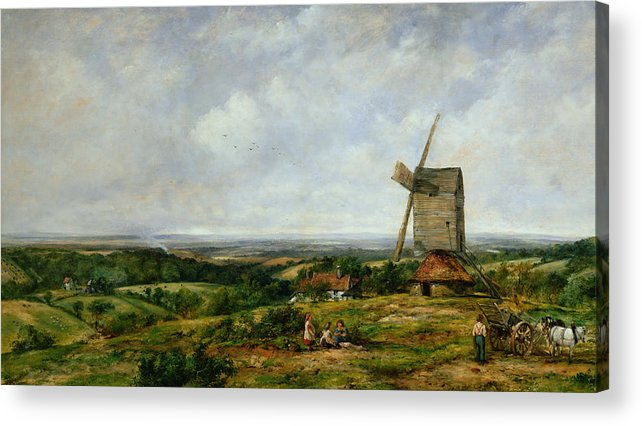 Children Acrylic Print featuring the painting Landscape With Figures By A Windmill by Frederick Waters Watts