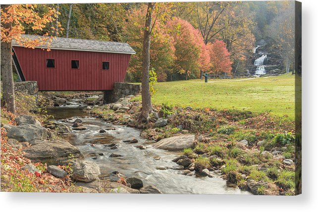Covered Bridge Acrylic Print featuring the photograph Morning At The Park by Bill Wakeley