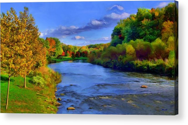 Landscape Acrylic Print featuring the painting October On The Cuyahoga by Dennis Lundell