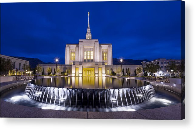 Ogden Acrylic Print featuring the photograph Ogden Temple II by Chad Dutson