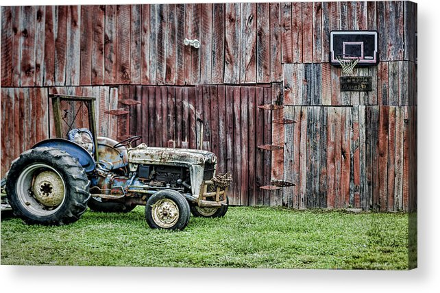 Tractor Acrylic Print featuring the photograph Old But Not Done by Heather Applegate