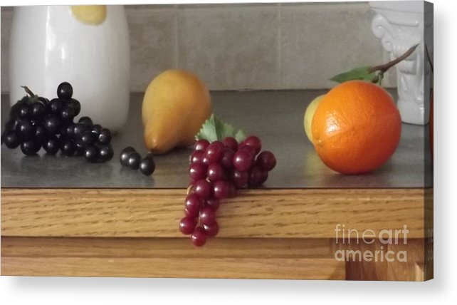 Grapes Acrylic Print featuring the photograph On The Counter by Jerome Thomas