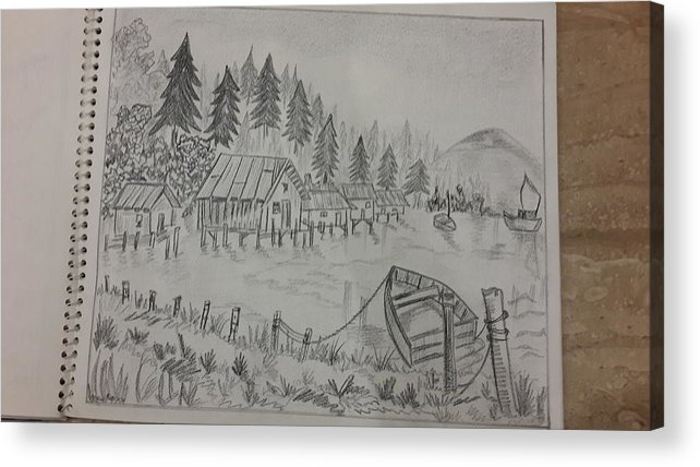 Sketching On Cartridge Sheet Acrylic Print featuring the drawing Pine Trees by Palli Ritu