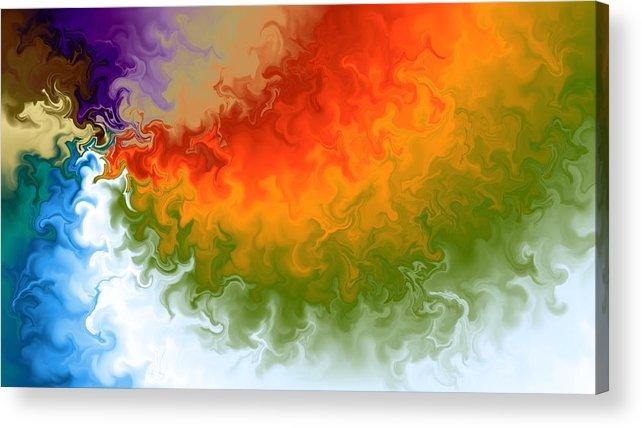 Digital Art Acrylic Print featuring the digital art Rainbow On Fire by Art Studio