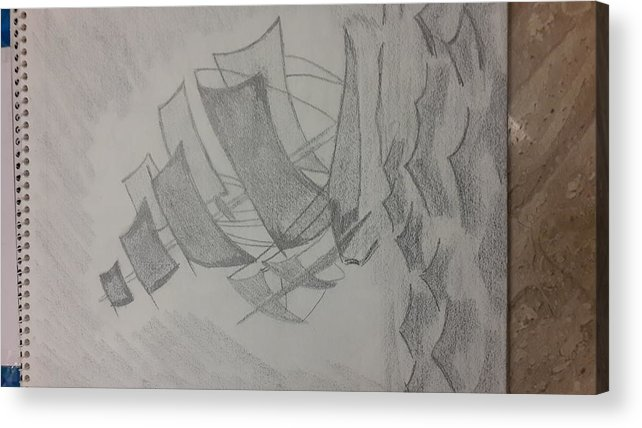 Ship In Seas Acrylic Print featuring the drawing Ship by Palli Ritu