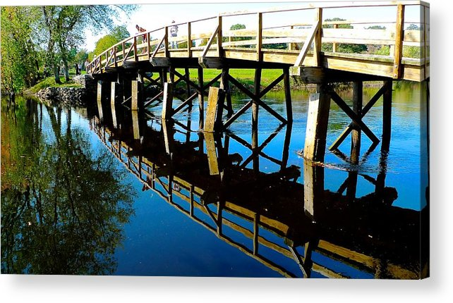 Shot Acrylic Print featuring the photograph North Bridge On The Concord by Dwight Pinkley
