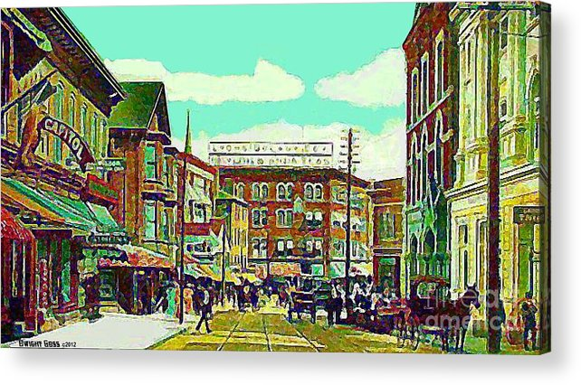 Main St. Acrylic Print featuring the painting The Capitol Theatre And Main St. In Pawtucket Ri In 1905 by Dwight Goss
