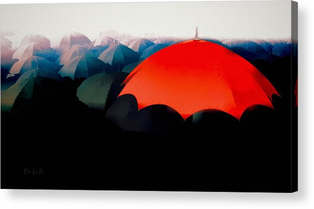 Umbrella Acrylic Print featuring the painting The Red Umbrella by Bob Orsillo