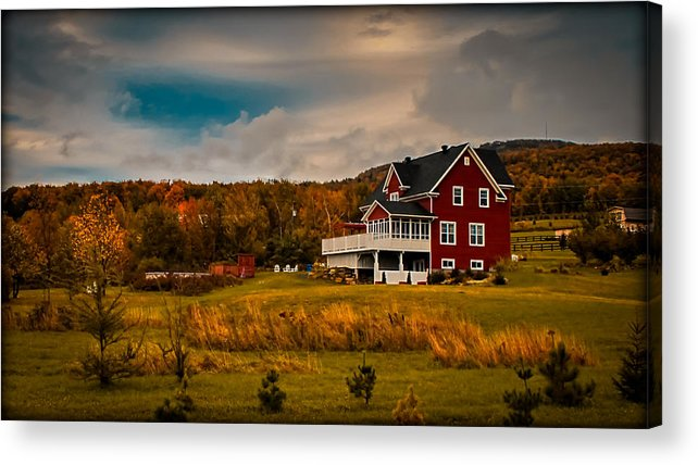 Red Farmhouse Acrylic Print featuring the photograph A Red Farmhouse In A Fallscape by Chantal PhotoPix
