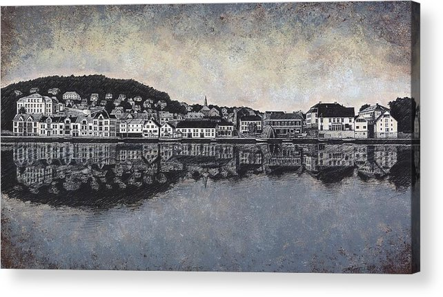 Seascape Acrylic Print featuring the drawing Farsund Waterfront by Janet King