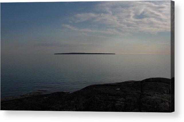 Island Acrylic Print featuring the pyrography Floating Island by Waldemar Okon